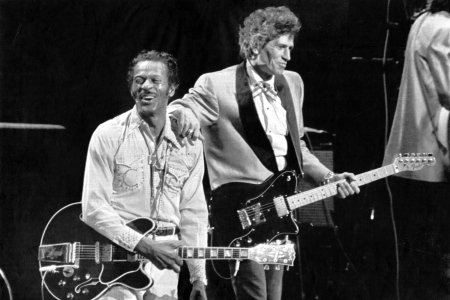 Chuck Berry with guitarist Keith Richards of the Rolling Stones at the Fox Theatre in St. Louis, Mo, 1986.