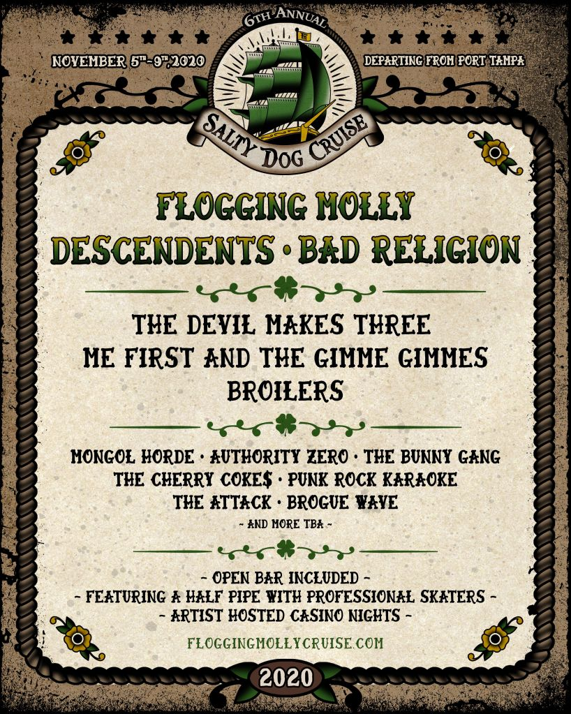 Flogging Molly Recruit Descendents, Bad Religion for Salty Dog Cruise