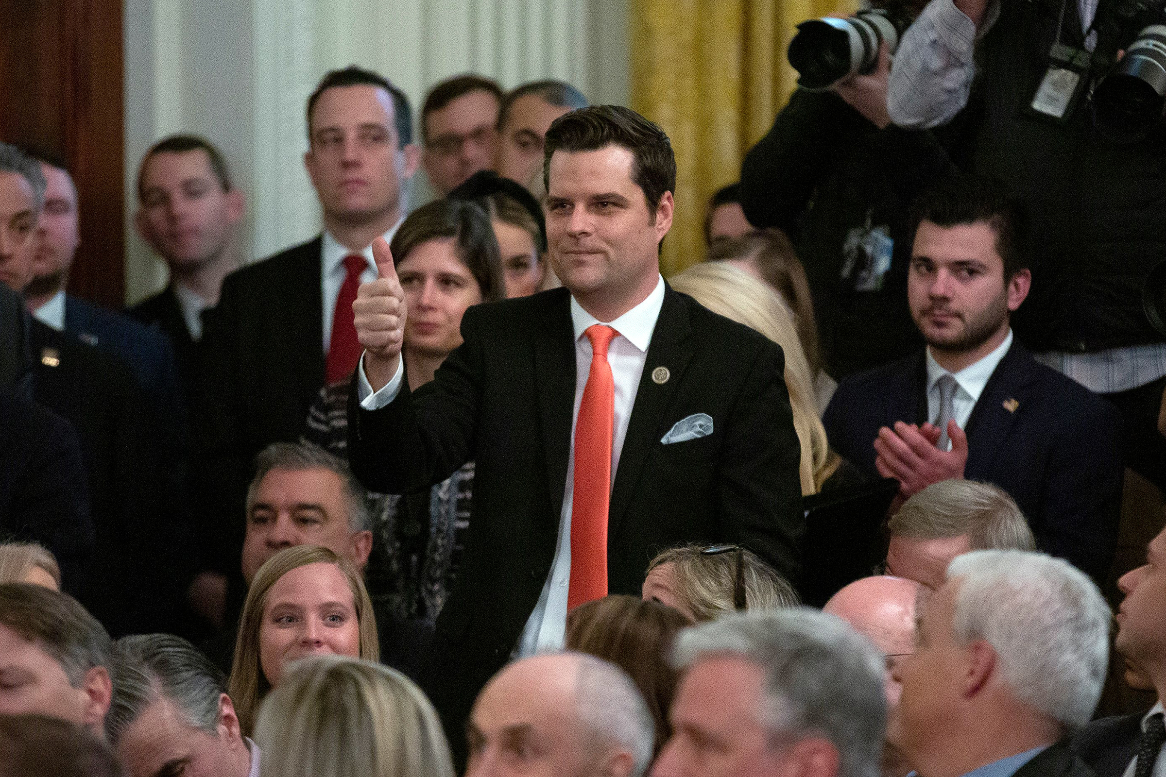 United States Representative Matt Gaetz (Republican of Florida) gives a thumbs up to United States President Donald Trump after being introduced during Trump's remarks regarding the Senate vote to acquit him of both articles of impeachment in the East Room of the White House in Washington DCUS President Donald Trump Acquittal Speech, Washington DC, USA - 06 Feb 2020