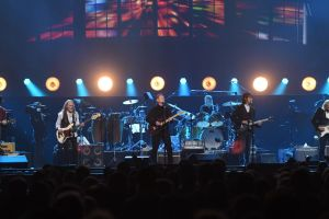 LAS VEGAS, NEVADA - SEPTEMBER 27:  (L-R) Vince Gill, Timothy B. Schmit, Don Henley, Scott F. Crago, Deacon Frey and Joe Walsh of the Eagles perform at MGM Grand Garden Arena on September 27, 2019 in Las Vegas, Nevada.  (Photo by Ethan Miller/Getty Images)