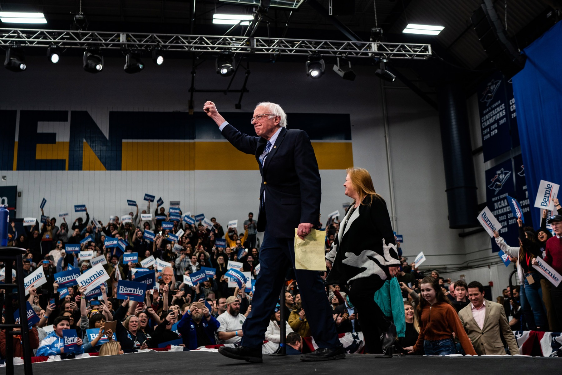 MANCHESTER, NEW HAMPSHIRE  - FEBRUARY 11: Sen. Bernie Sanders, I-Vt., 2020 Democratic Presidential Candidate, goes up the stage with his family after winning New Hampshire Primary during Primary Night Celebration at SNHU Field House on Tuesday, February 11, 2020 in Manchester, New Hampshire. (Photo by Salwan Georges/The Washington Post via Getty Images)