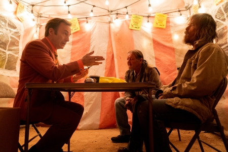 Bob Odenkirk, left, in the Season Five premiere of 'Better Call Saul.'