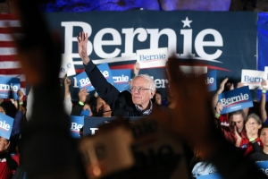 LAS VEGAS, NEVADA - FEBRUARY 21: Democratic presidential candidate Sen. Bernie Sanders (I-VT) waves to supporters at a campaign rally for Sanders on February 21, 2020 in Las Vegas, Nevada. The upcoming Nevada Democratic presidential caucus will be held February 22. (Photo by Mario Tama/Getty Images)
