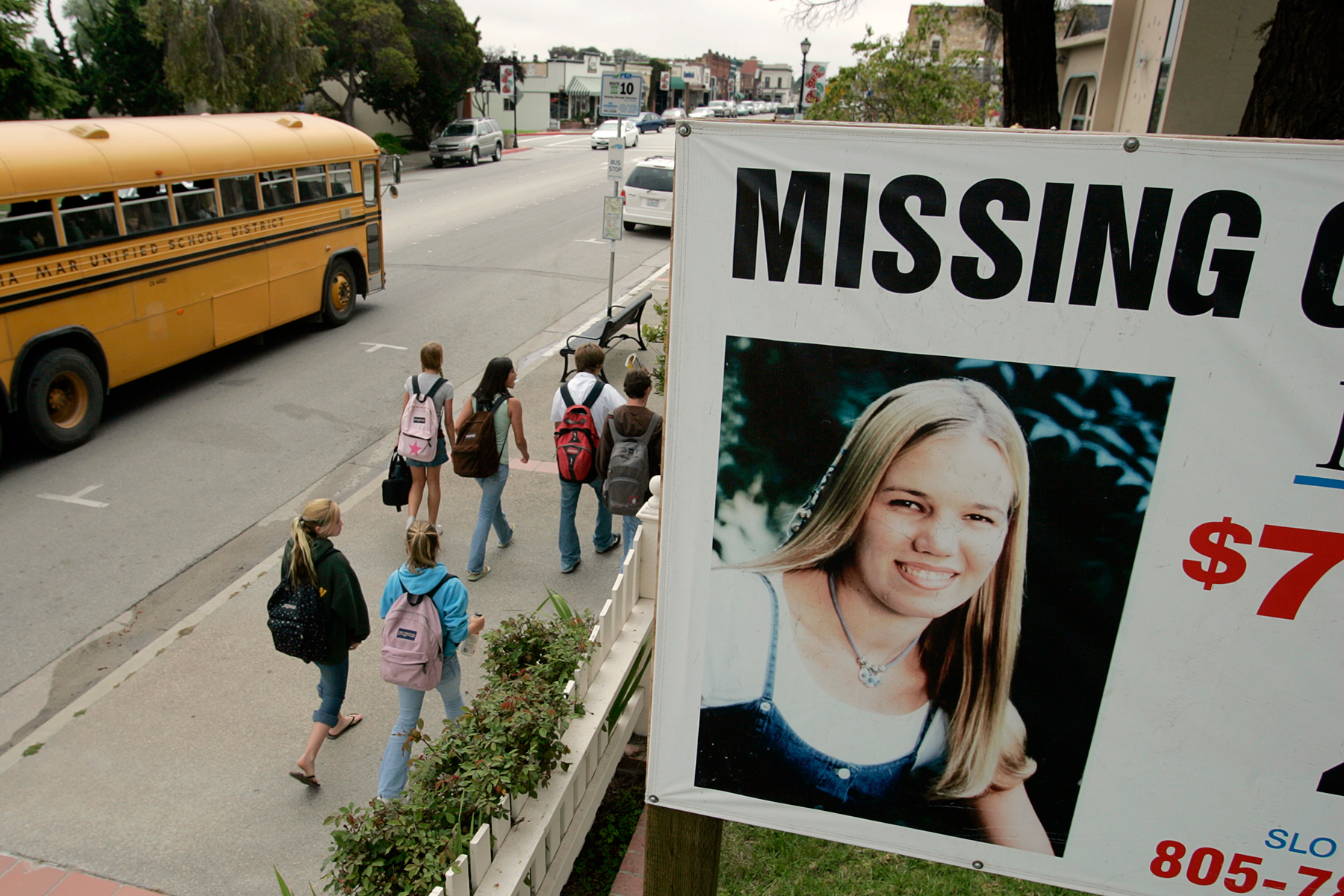 (Torrance) – – Just across the East Branch Street, from city hall, in the California central coast town of Arroyo Grande, is this sign that helps with public awareness in case involving MISSING Cal Poly San Luis Obispo student Kristin Smart. Kristen was in her first year at Cal Poly when she vanished in 1996. Smart was declared legally dead in 2002, despite the fact that her body has never been recovered. The sign is on property belonging to the attorney for the Smart family. PHOTOGRAPHED THURSDAY MAY 18, 2006  (Photo by Don Kelsen/Los Angeles Times via Getty Images)