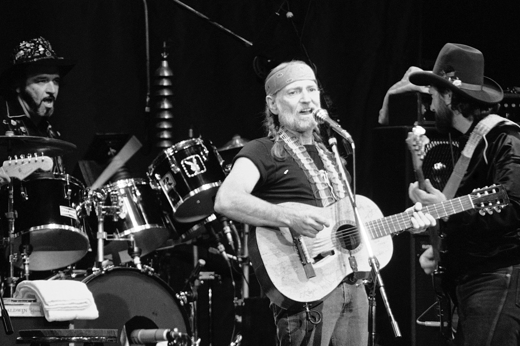 Willie Nelson American country-western singer Willie Nelson, center, sing a song during his first concert in Japan at the Budokan Hall in Tokyo, . On the road in Japan ? not again, but for the first time ? he plans to offer ?both standard and original jazz during a five-concert tour hereSinger Willie Nelson, Tokyo, Japan