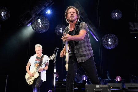 BOSTON, MA - SEPTEMBER 04: Mike McCready and Eddie Vedder of Pearl Jam perform at Fenway Park on September 4, 2018 in Boston, Massachusetts. (Photo by Kevin Mazur/Getty Images)