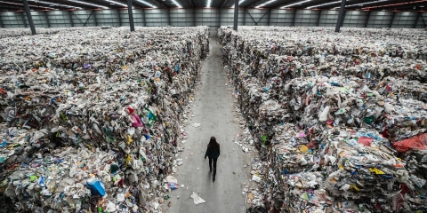 Mountains of Waste: An Australian warehouse filled with unsorted plastic waste destined for a landfill - recycling proved too expensive.