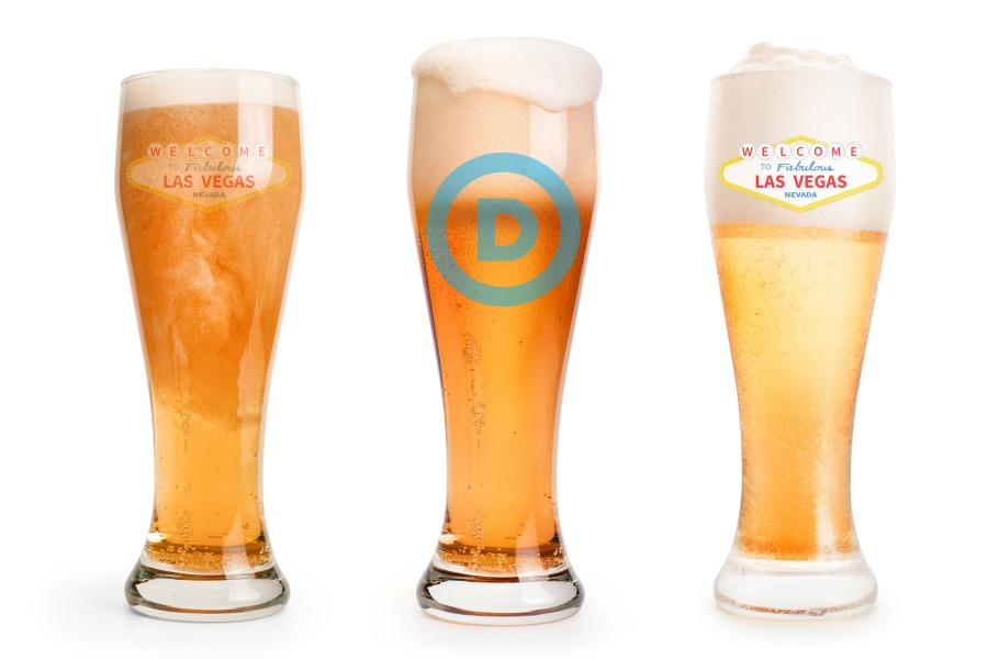 Three pint of light beer set with foam cap. Isolated on white, clipping path included; Shutterstock ID 1265348215; Purchase Order: