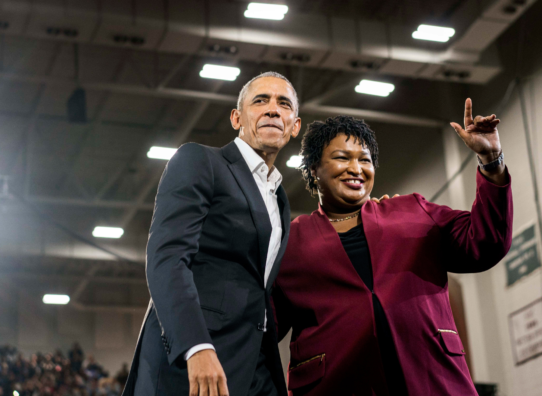 Abrams with Obama in 2018.
