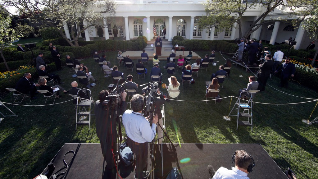 President Donald Trump speaks about the coronavirus in the Rose Garden of the White House, in WashingtonVirus Outbreak Trump, Washington, United States - 30 Mar 2020