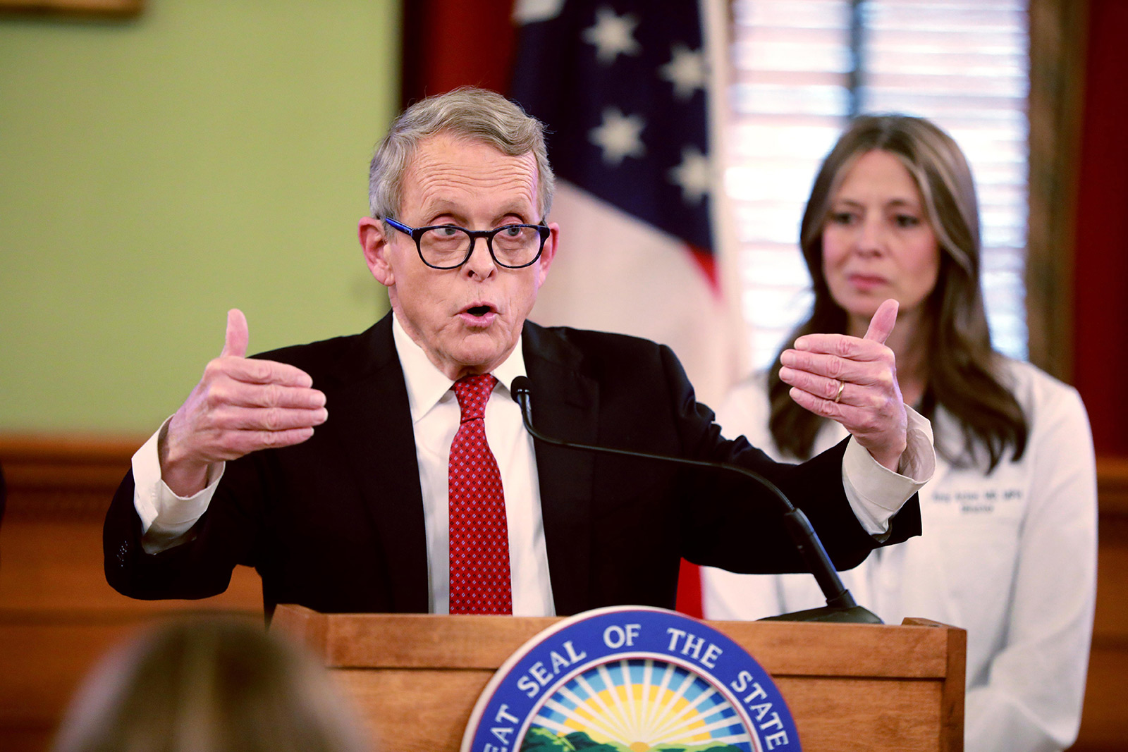 March 16, 2020, USA: Ohio Gov. Mike DeWine addresses members of the media during a press conference updating the public on COVID-19 on Thursday, March 12, 2020 at the Ohio Statehouse in Columbus, Ohio. (Credit Image: © TNS via ZUMA Wire)