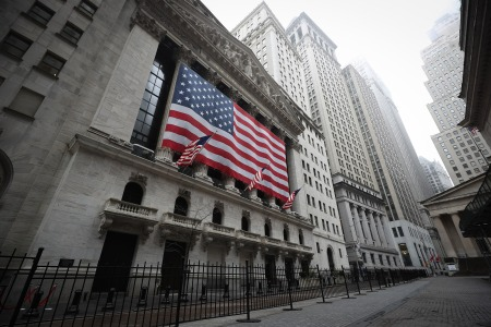 """NEW YORK, USA - MARCH 29: New York Stock Exchange building is seen at the Financial District in New York City, United States on March 29, 2020. New York is ranked as one of the largest International Financial Centres (""""IFC"""") in the world, now seen so quiet due the Covid-19 pandemic. (Photo by Tayfun Coskun/Anadolu Agency via Getty Images)"""