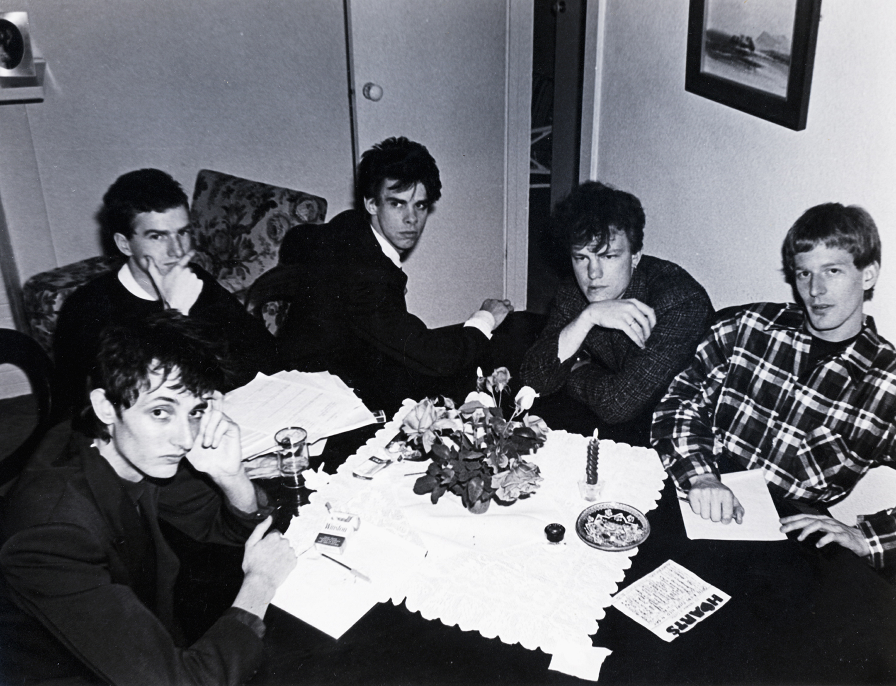 Photo of Nick Cave and Boys Next Door (L-R): Rowland S Howard, Mick Harvey, Nick Cave, Tracy Pew, and Phill Calvert.