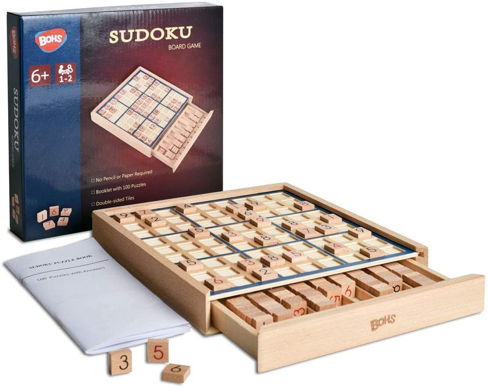 Wooden Sudoku Board Game with Drawer