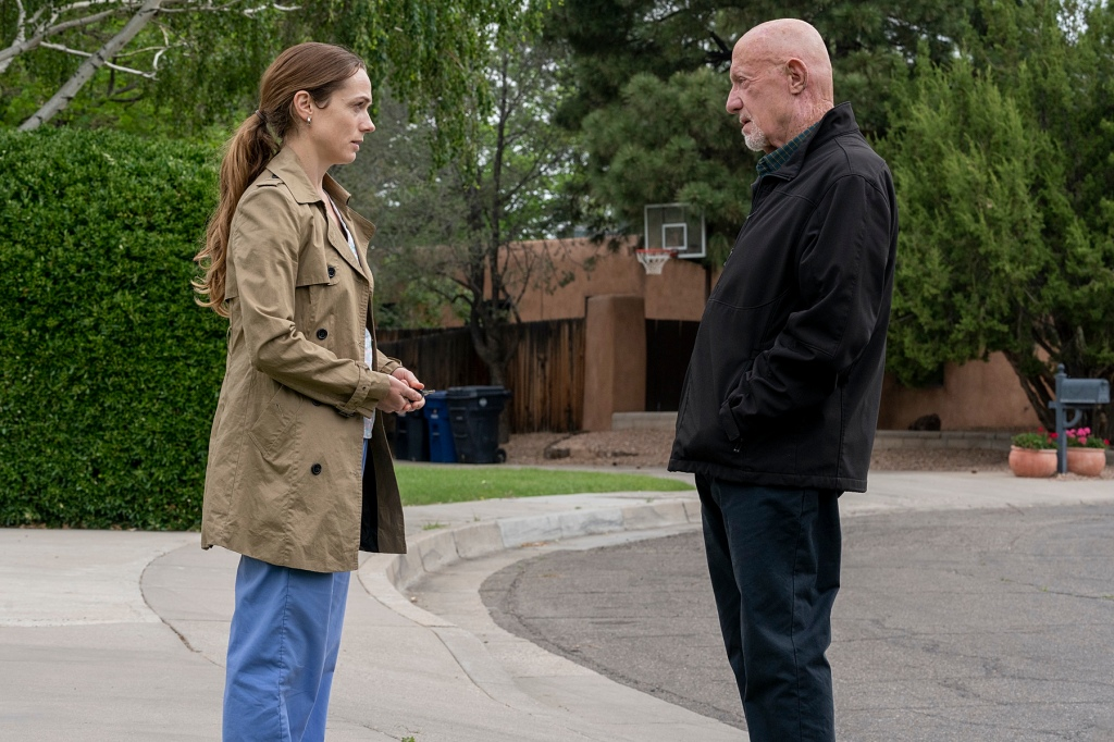 Jonathan Banks as Mike Ehrmantraut, Kerry Condon as Stacey - Better Call Saul _ Season 5, Episode 4 - Photo Credit: Greg Lewis/AMC/Sony Pictures Television