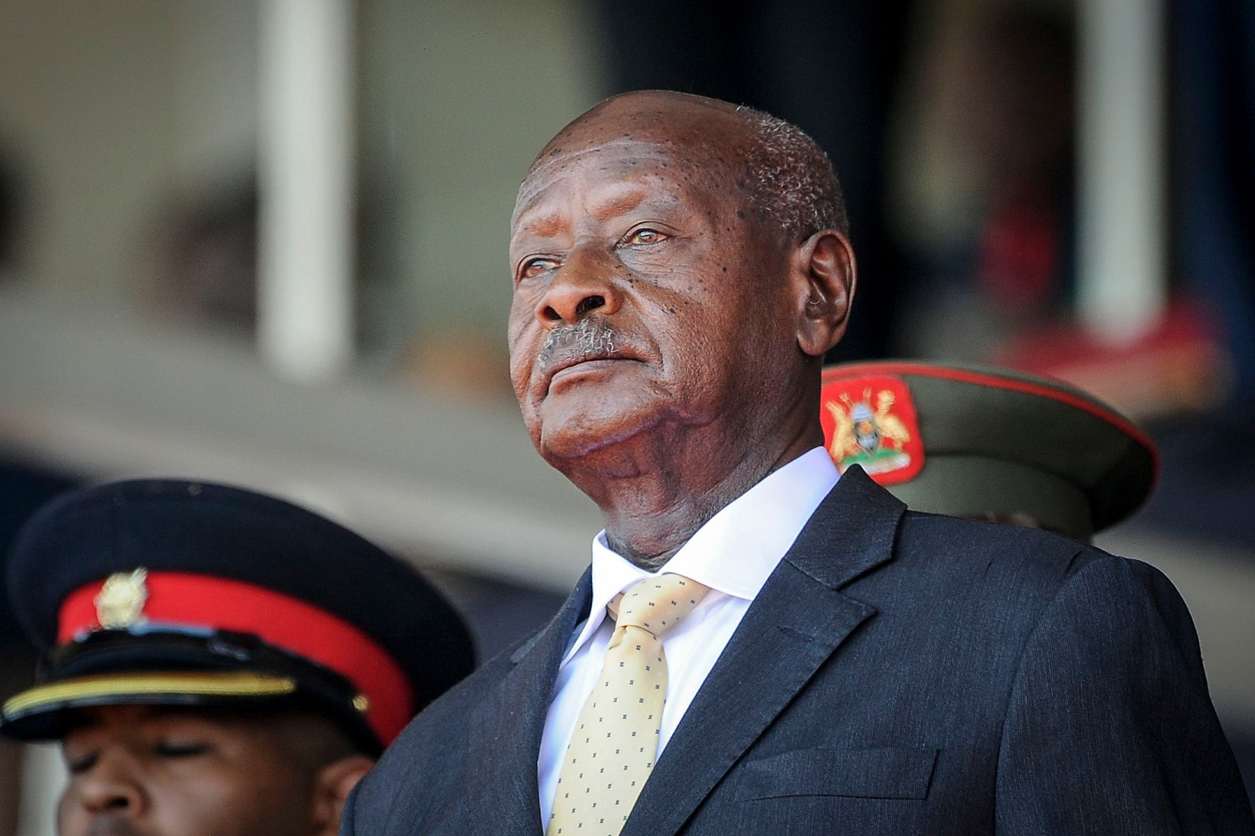 Uganda's President Yoweri Museveni attends the state funeral of Kenya's former president Daniel arap Moi, at Nyayo Stadium in the capital Nairobi, Kenya, . Daniel arap Moi, a former schoolteacher who became Kenya's longest-serving president and led the East African nation through years of repression and economic turmoil fueled by runaway corruption, died Tuesday, Feb 4, 2020, aged 95Obit Moi, Nairobi, Kenya - 11 Feb 2020