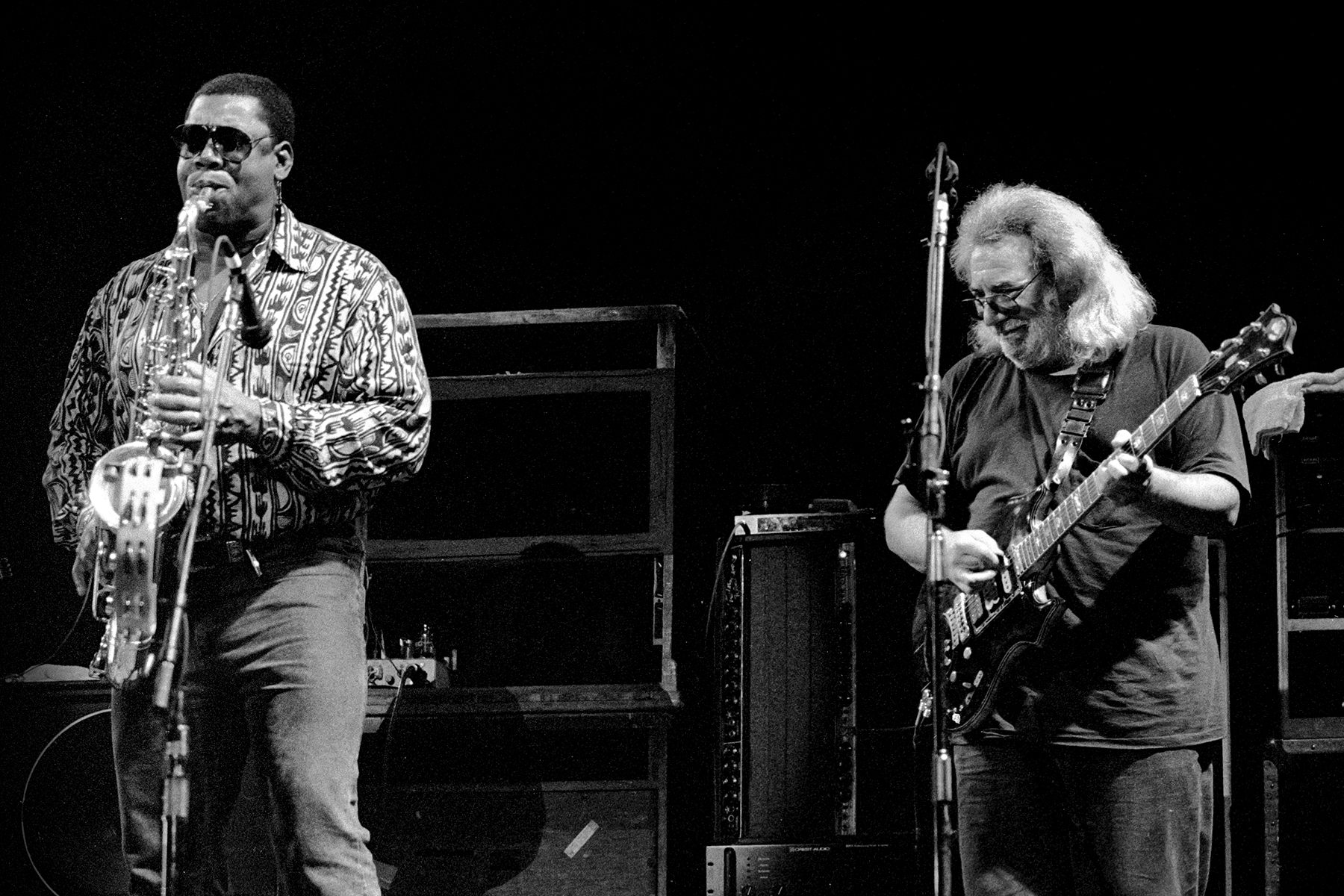 Jerry Garcia Clarence Clemons Jam Onstage In 1989 Hear Rolling