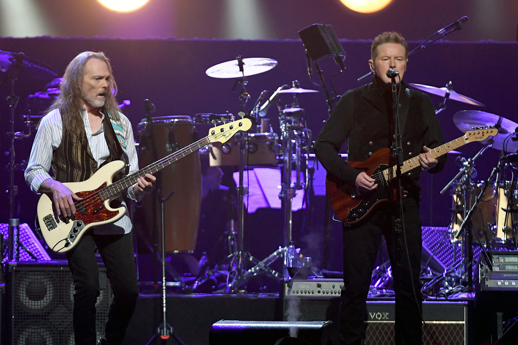 LAS VEGAS, NEVADA - SEPTEMBER 27:  Timothy B. Schmit (L) and Don Henley of the Eagles perform at MGM Grand Garden Arena on September 27, 2019 in Las Vegas, Nevada.  (Photo by Ethan Miller/Getty Images)