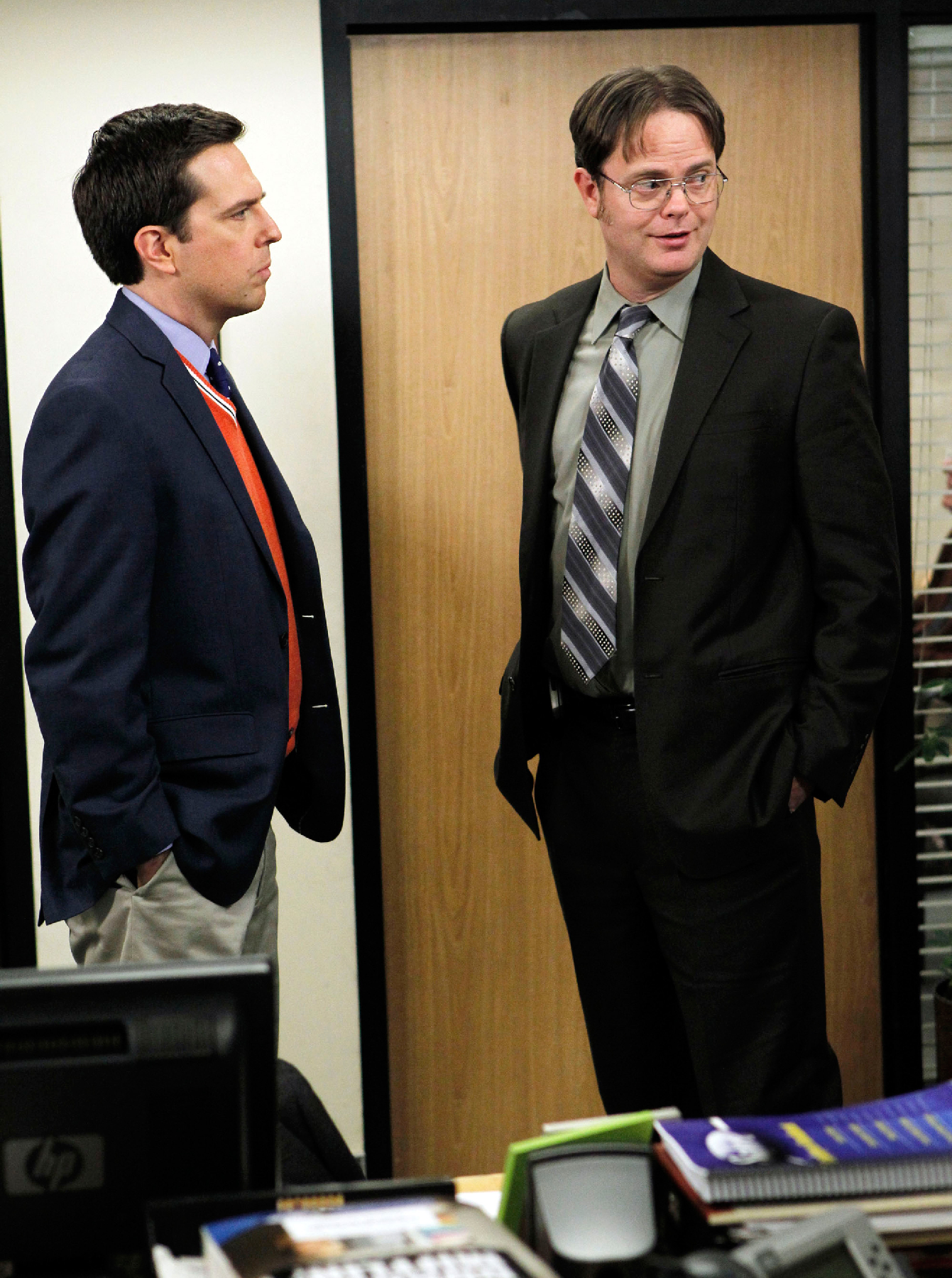 "THE OFFICE -- ""The Seminar"" Episode 714 -- Pictured: (l-r) Ed Helms as Andy Bernard, Rainn Wilson as Dwight Schrute (Photo by Trae Patton/NBCU Photo Bank/NBCUniversal via Getty Images via Getty Images)"