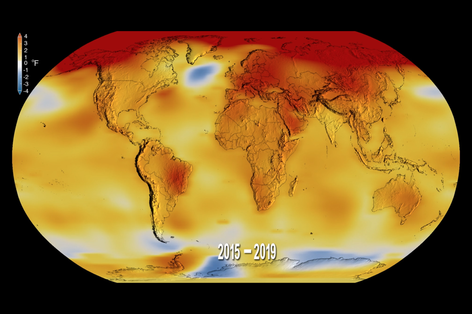 A map showing the average temperature rise over the past four years; 2016 and 2019 were the hottest on record.