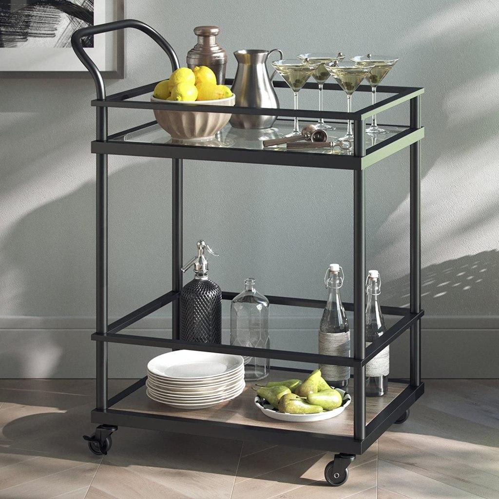 2-tier rolling bar cart