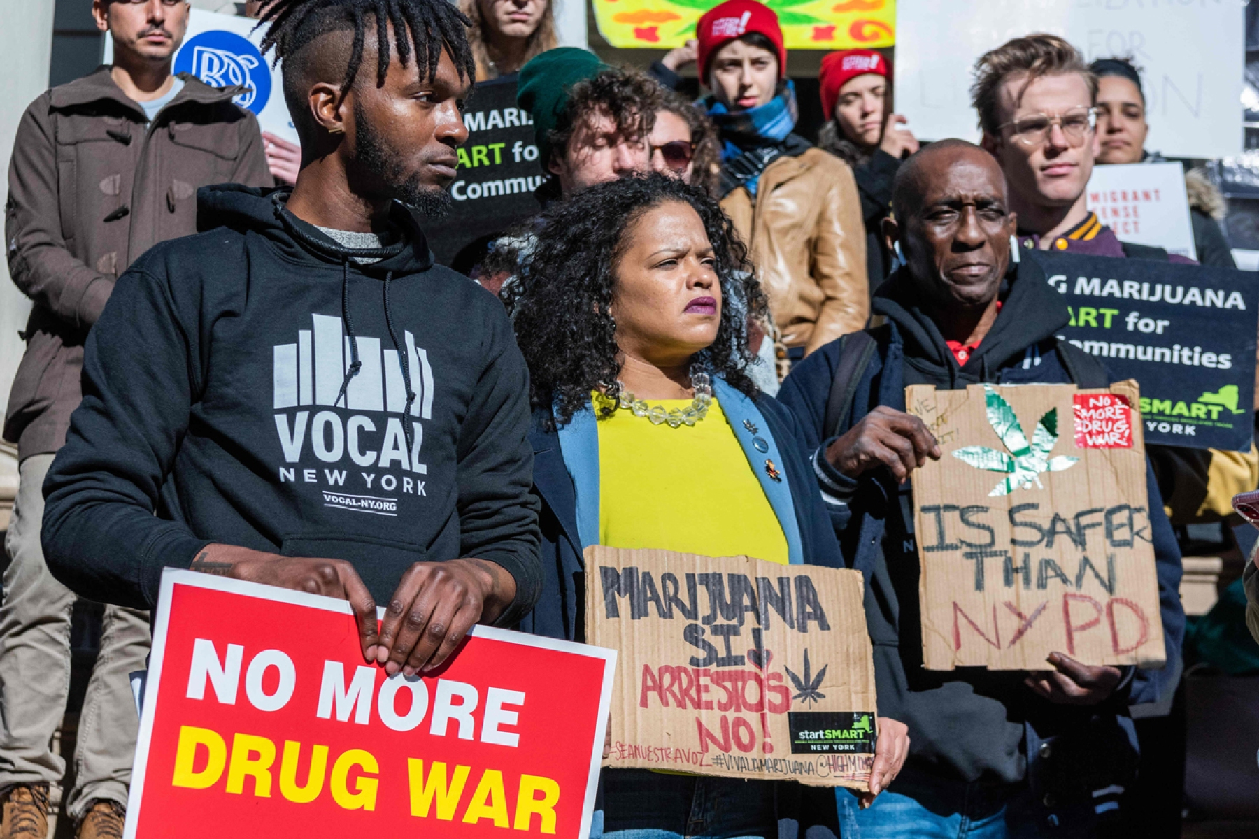 Supporters of the Marijuana Regulation and Taxation Act (MRTA) rally on the steps of New York City Hall on November 21, 2019. The law would legalize and regulate the use of marijuana in New York State, ending disproportionate policing and providing millions of dollars in tax revenue.