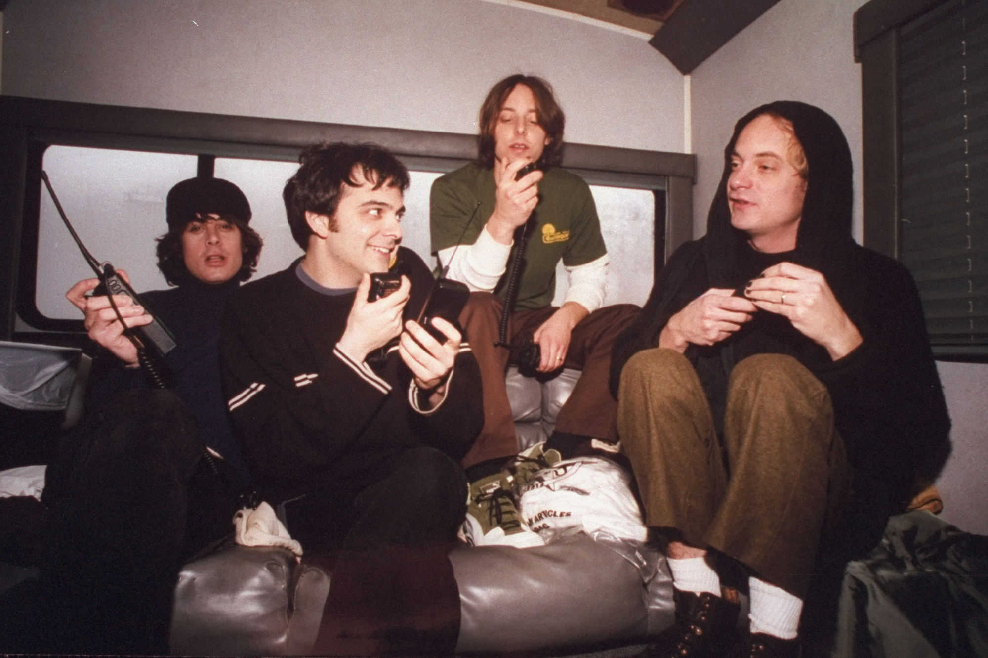 Musicians (L-R) Jody Porter, Adam Schlesinger, Brian Young and Chris Collingwood of the rock band Fountains of Wayne in there trailer. (Photo by Kimberly Butler/The LIFE Images Collection via Getty Images/Getty Images)