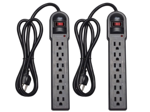 KMC 6-Outlet Surge Protector Power Strip 2-Pack