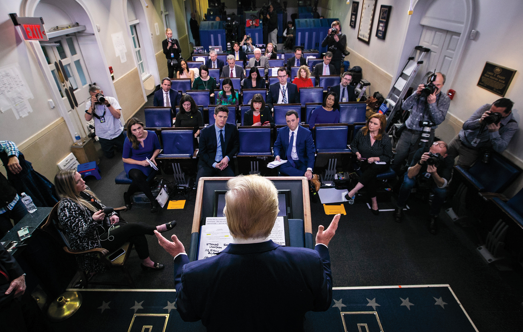 President Donald Trump speaks during a coronavirus task force news conference in the White House briefing room in Washington, March 22, 2020. (Al Drago/The New York Times)