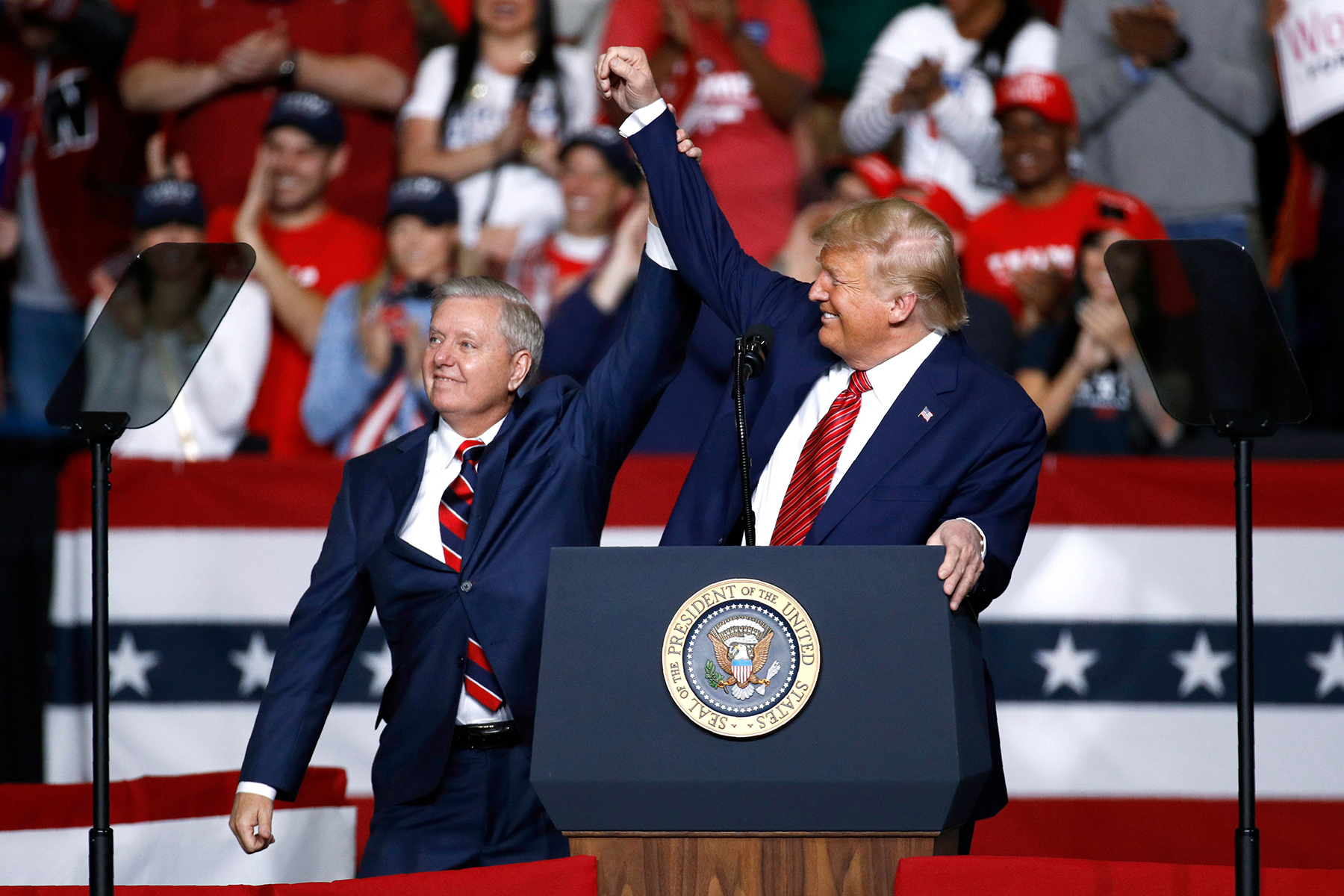 Sen. Lindsey Graham, R-S.C., left, stands onstage with President Donald Trump during a campaign rally, in North Charleston, S.C. The filing period for South Carolina's 2020 primaries and November general election closed Monday, March 30 although the coronavirus outbreak has left in flux how exactly the elections will be carried out. Perhaps the most highly anticipated election contest coming up in South Carolina is Graham's pursuit of a fourth term in office. A general election matchup with Democrat Jaime Harrison all but certain, Graham has also drawn a handful of Republican challengers, as well as Constitution and Libertarian party opponentsCandidate Filing-South Carolina, North Charleston, United States - 28 Feb 2020