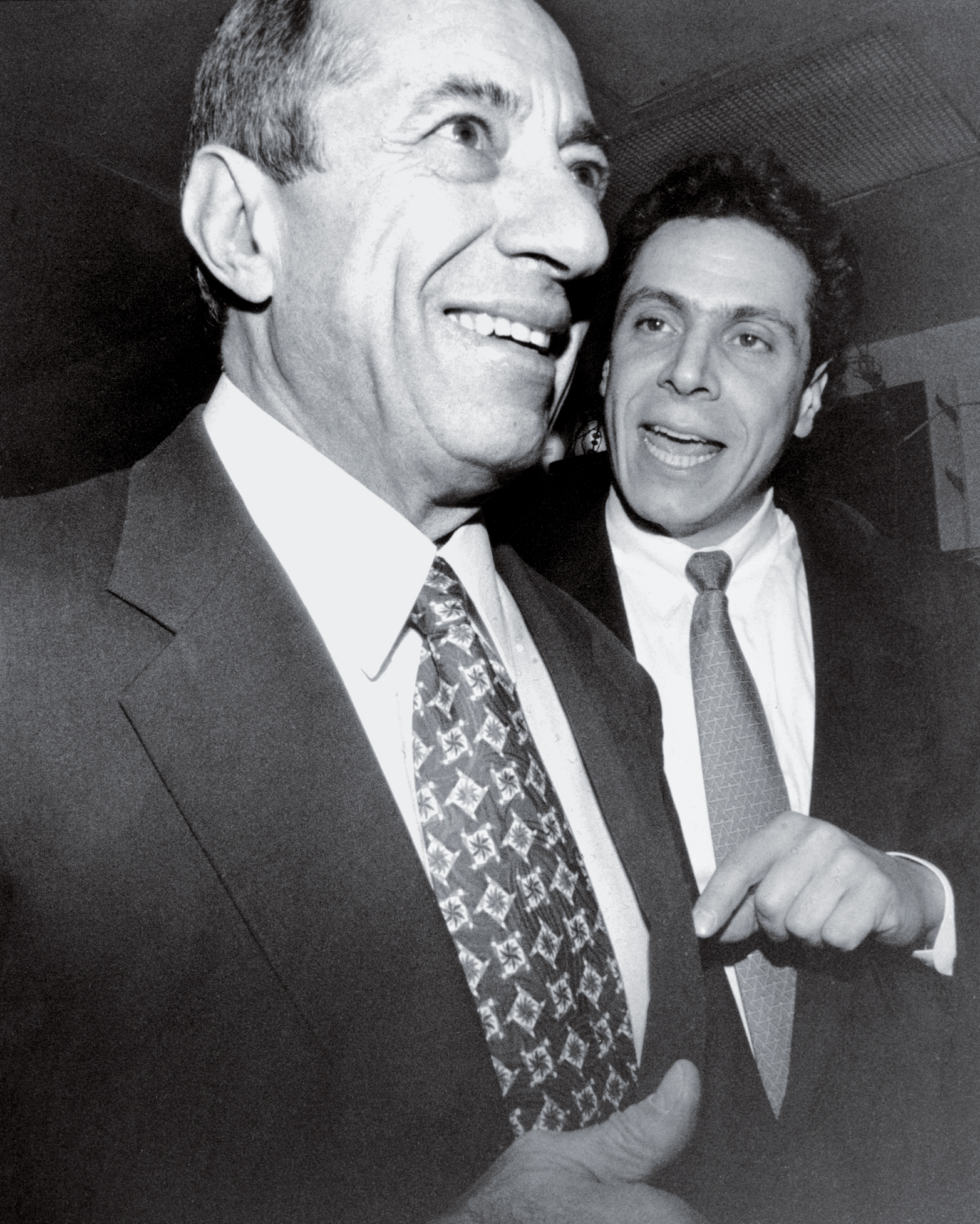 New York Governor Mario Cuomo with his son Andrew Cuomo at Andrew's birthday party at Ryan McFadden in New York City. December 19, 1994. (Photo by Luiz C. Ribeiro/New York Post Archives /(c) NYP Holdings, Inc. via Getty Images)