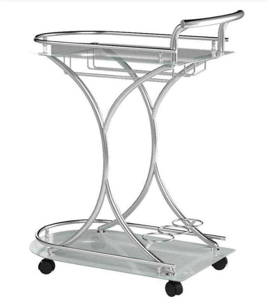 coaster home chrome cocktail cart