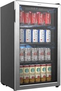 beverage mini fridge glass door
