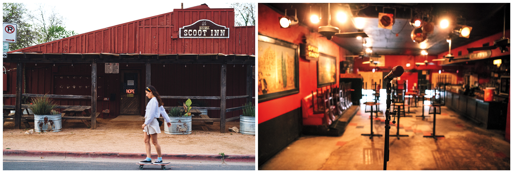 SILENT AUSTIN: A skateboarder (top) passes the Scoot Inn; inside the Continental Club (above) , the barroom is empty. These once-lively legendary venues are closed until further notice. Photographs by Charles Reagan Hackleman for 'Rolling Stone'