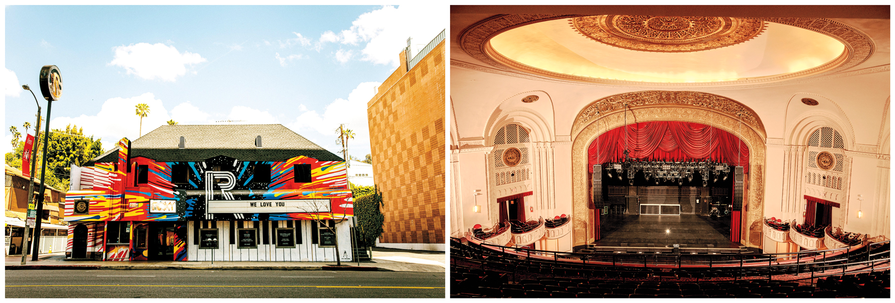 COAST TO COAST: Historic venues — from the Roxy in Los Angeles (top) to the Capitol Theatre in Port Chester, New York (bottom) — shut down, leaving staff and crew without work. From top, photographs by Pooneh Ghana and Victor Llorente for 'Rolling Stone'