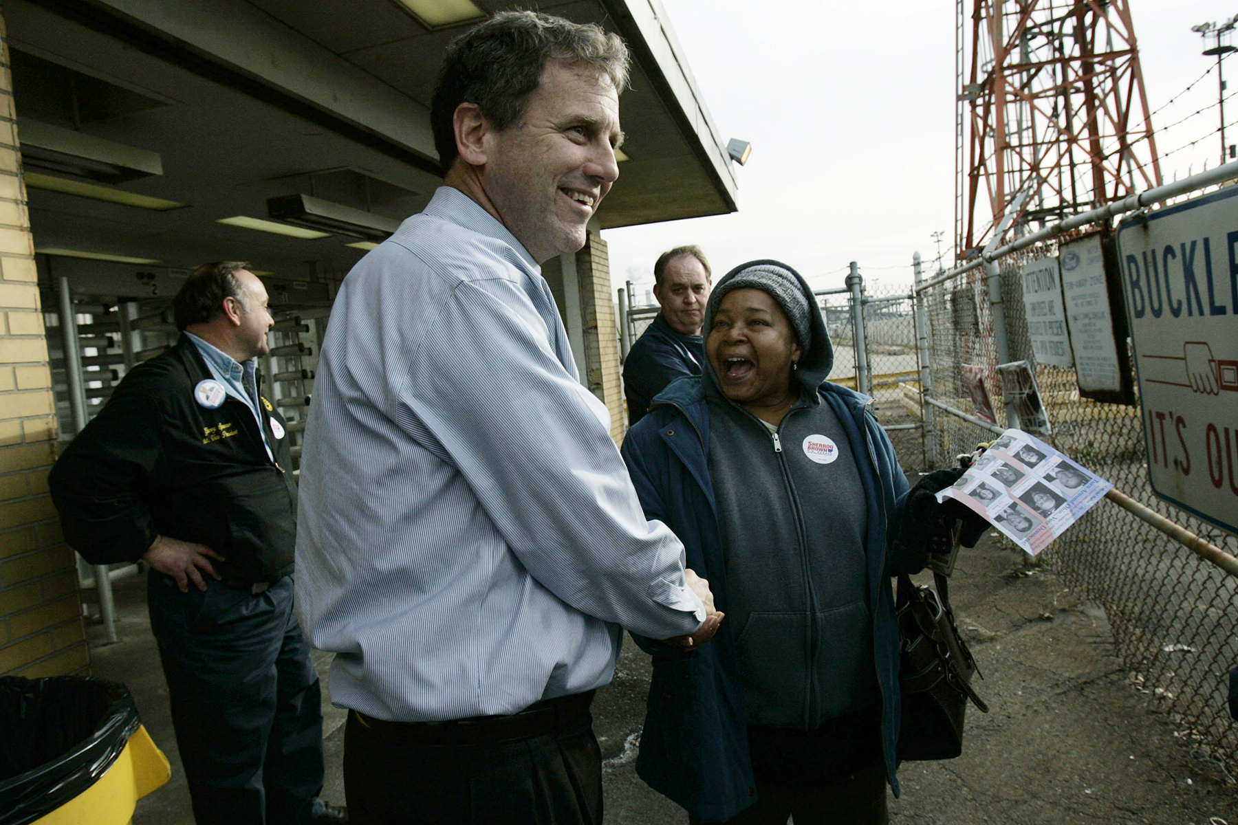BROOK PARK, OH - NOVEMBER 6: Ohio Democratic U.S. Senate candidate Sherrod Brown shakes hands with workers as they leave the the Ford Engine Plant November 6, 2006 in Brook Park, Ohio. Working his Northern Ohio base with campaign stops one day before the election, Brown is scheduled to attend a rally in another Cleveland suburb, Parma, later today with Rep. Dennis Kucinich (D-OH) and the Parma Mayor Dean DePiero. (Photo by Jamie Rose/Getty Images)