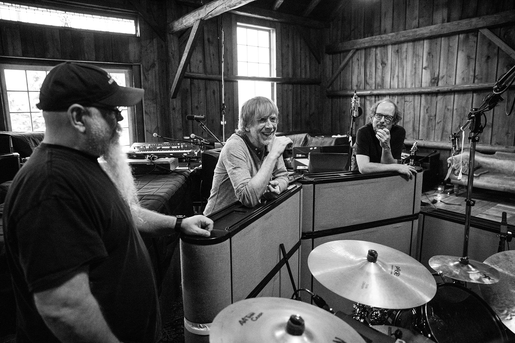 Vance Powell, Trey Anastasio and Page McConnell in the barn in November.