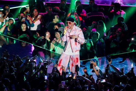 Puerto Rican singer Bad Bunny performs during the Spotify Awards 2020 in Mexico City, Mexico, 05 March 2020.Spotify Awards 2020, Mexico City - 05 Mar 2020