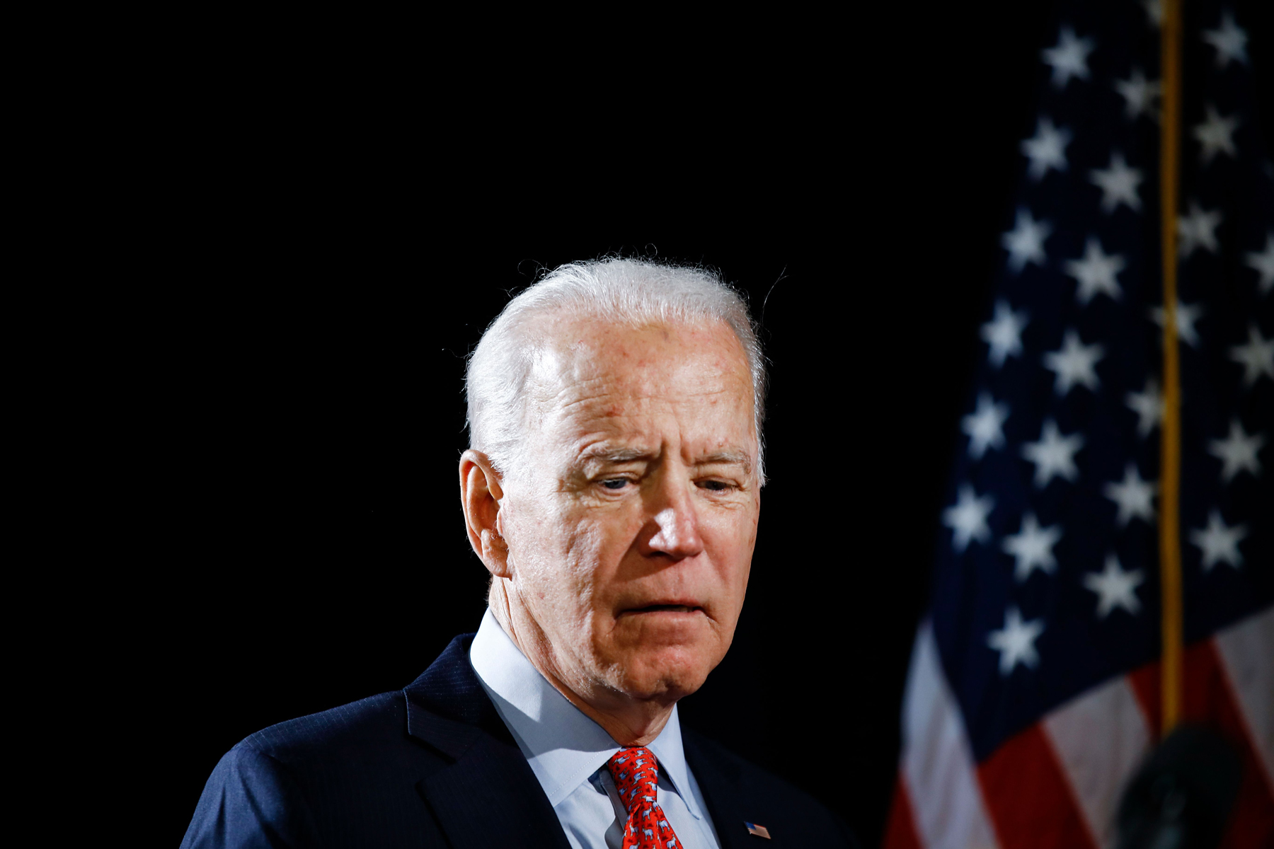 Democratic presidential candidate former Vice President Joe Biden arrives to speak about the coronavirus, in Wilmington, DelElection 2020 Joe Biden, Wilmington, United States - 12 Mar 2020