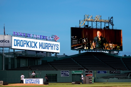 May 27, 2020, Boston, MA:Bruce Springsteen performs on the video board with the Dropkick Murphys during the Streaming Outta Fenway performance with no live audience as the Major League Baseball season is postponed due to the COVID-19 pandemic at Fenway Park in Boston, Massachusetts Wednesday, May 27, 2020. (Photo by Maddie Malhotra/Boston Red Sox)
