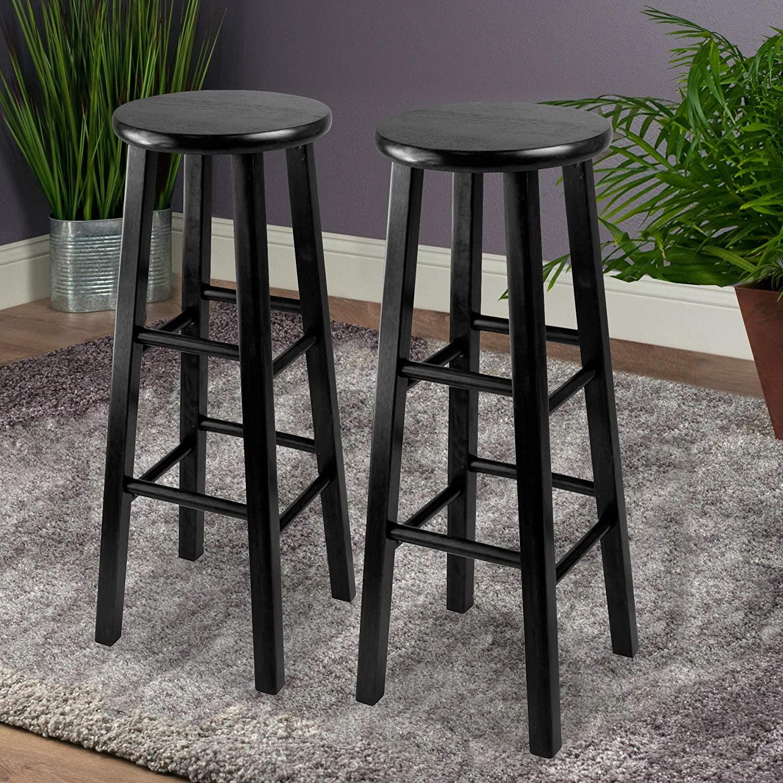 black bar stools wood