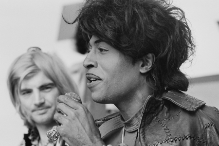 American musician and singer Little Richard pictured, with Screaming Lord Sutch behind,  speaking at a press conference to promote his appearance at the London Rock and Roll Show at Wembley Stadium in London, 4th August 1972. (Photo by Jack Kay/Daily Express/Hulton Archive/Getty Images)