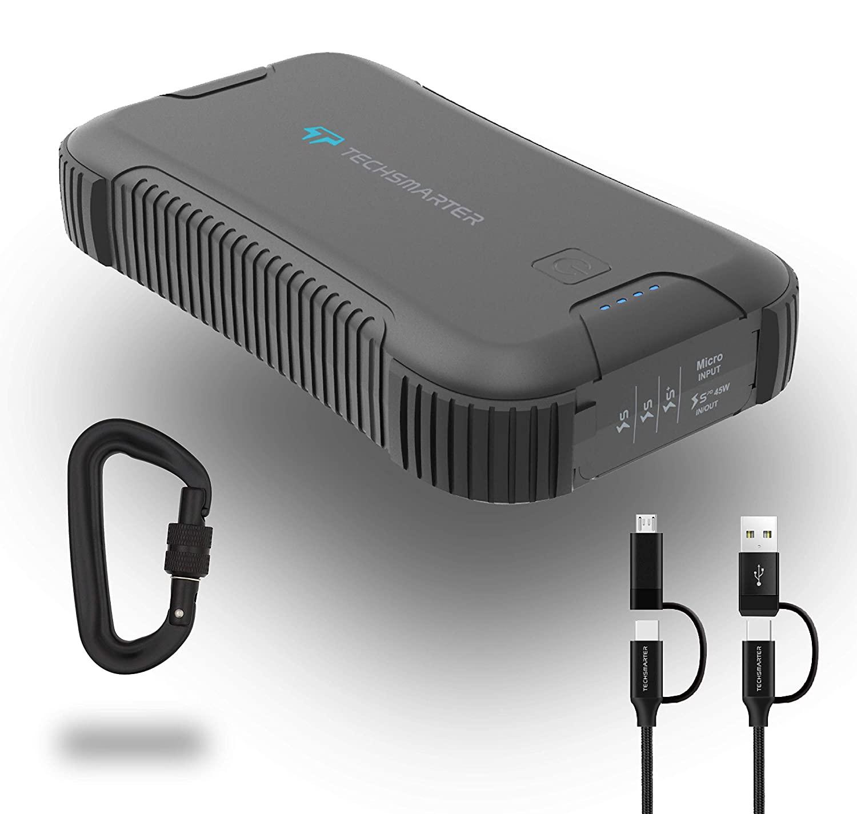 Techsmarter 30000mah Rugged & Waterproof 45W Power Delivery USB-C Port Power Bank