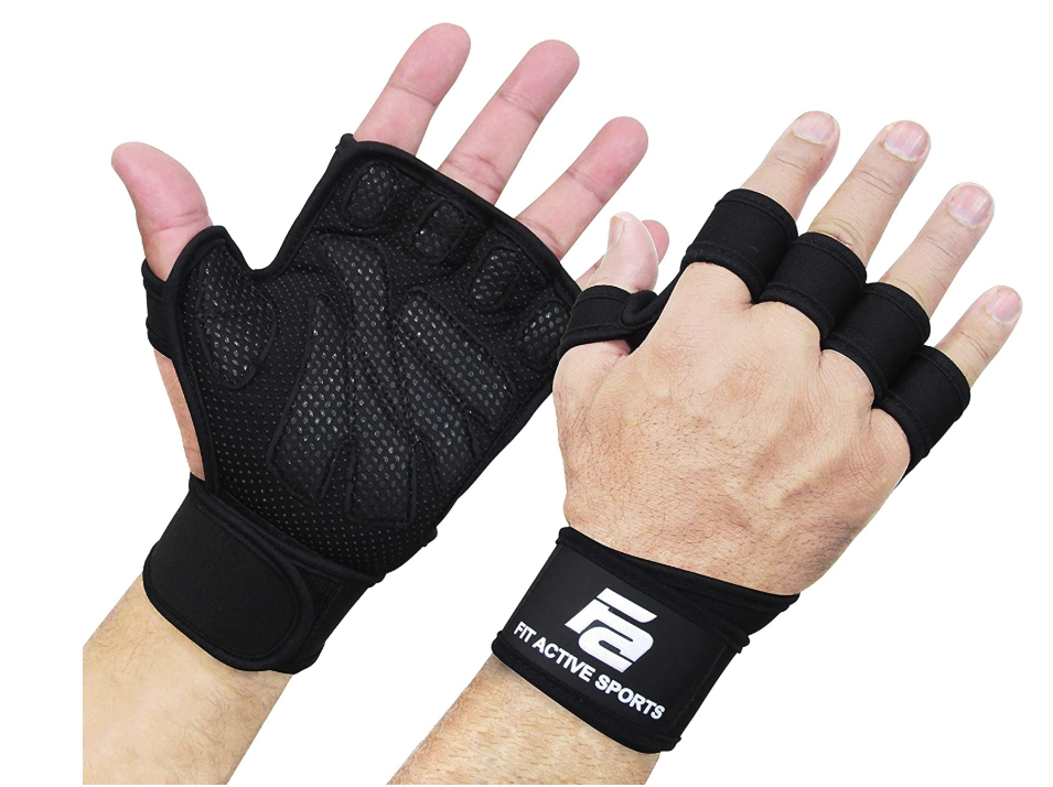 Ventilated Weight Lifting Gloves with Built-In Wrist Wraps