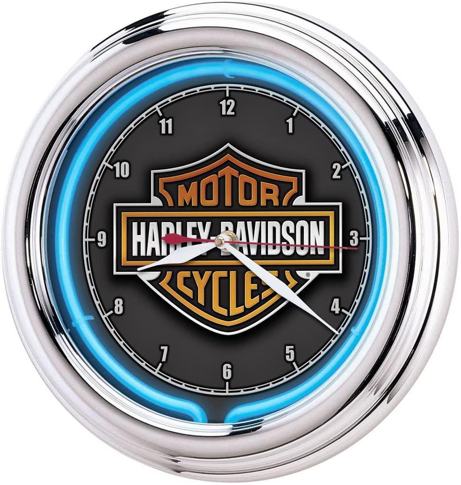 harley davidson neon bar clock