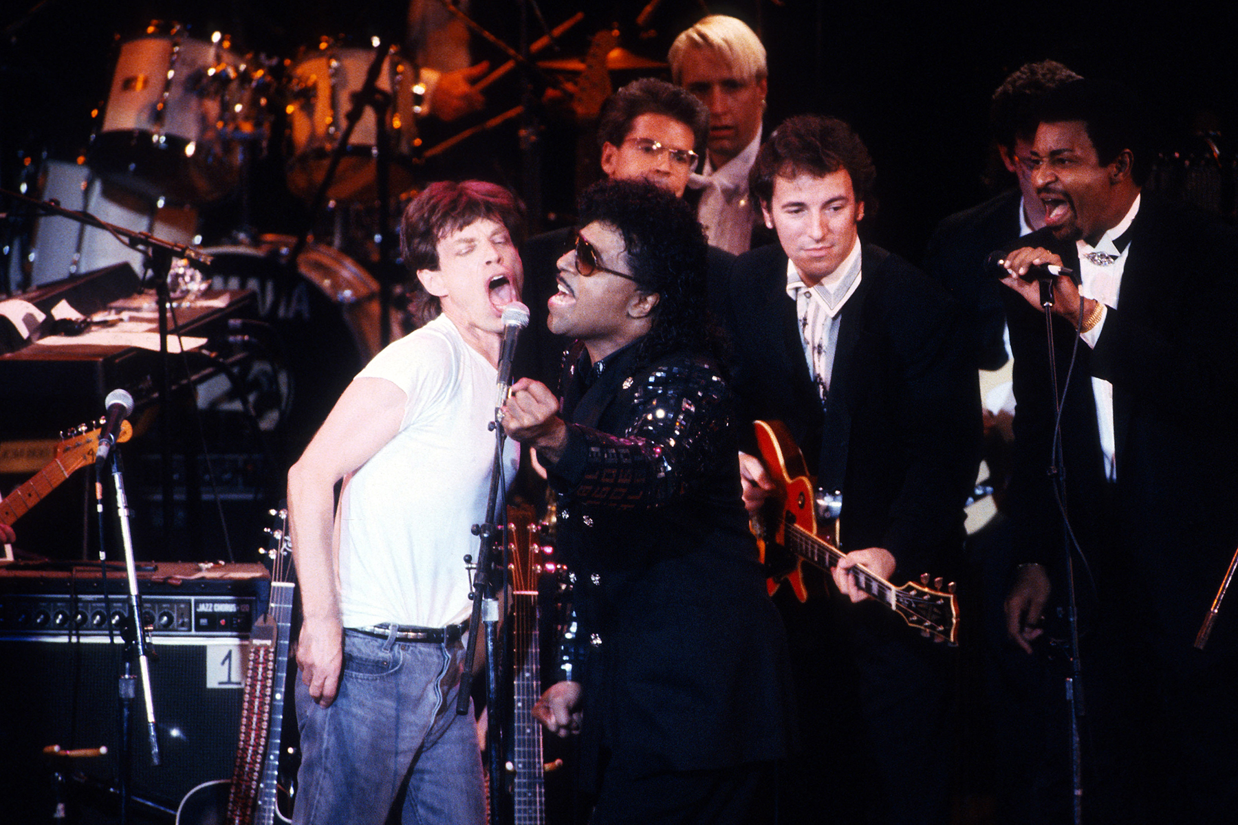 1989 Rock and Roll Hall of Fame at the Waldorf Astoria New York Mick Jagger and Little Richard with the TemptationsRock and Roll Hall of Fame - 19 Nov 1989