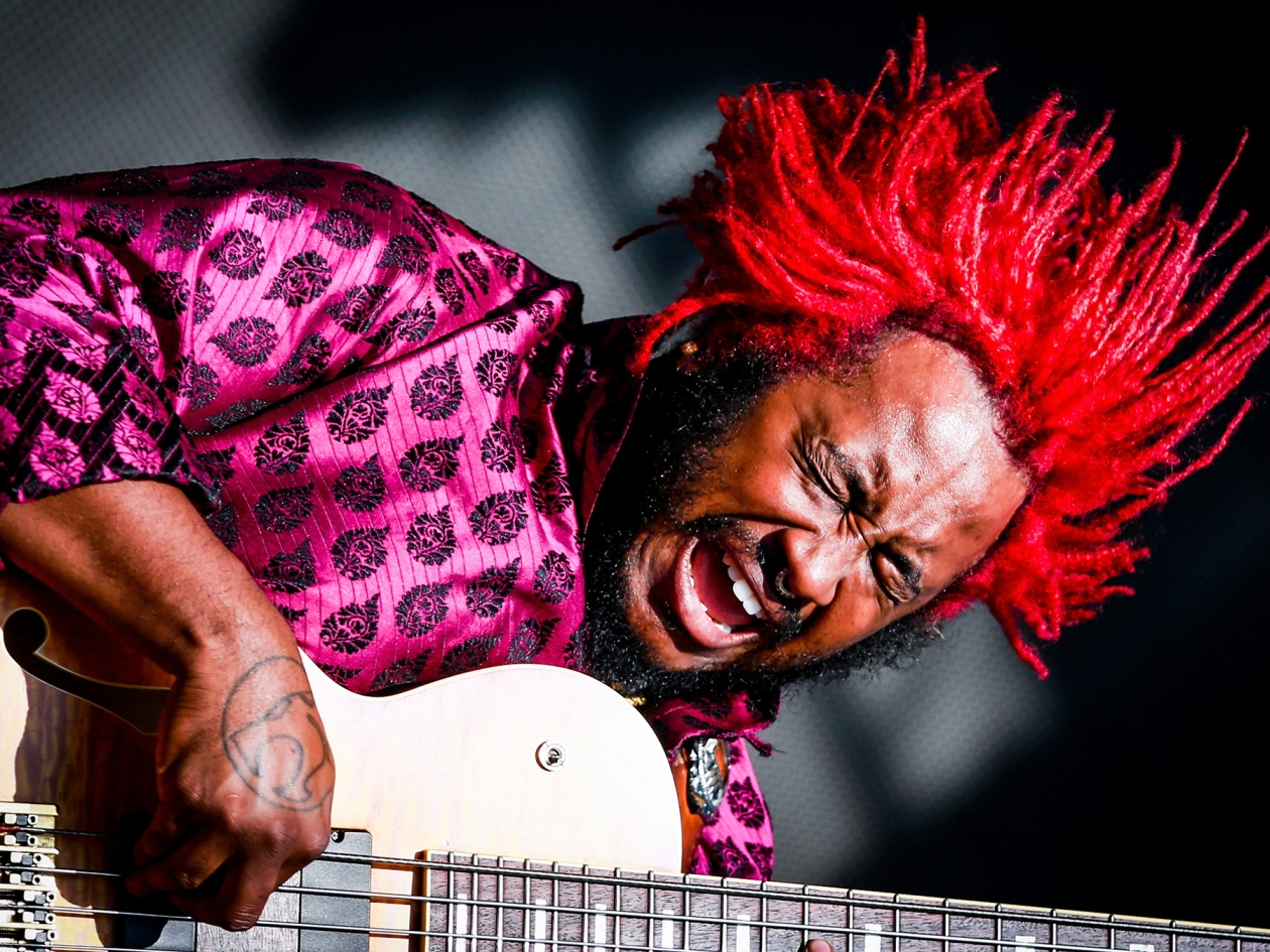LOS ANGELES, CA - JULY 22:  Thundercat performs onstage during day 2 of FYF Fest 2017 at Exposition Park on July 22, 2017 in Los Angeles, California. (Photo by Rich Fury/Getty Images for FYF)