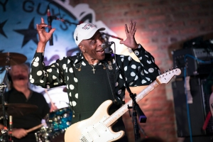 American Blues musician Buddy Guy performs onstage at his nightclub, Buddy Guy's Legends, Chicago, Illinois ,January 16, 2020. (Photo by Paul Natkin/Getty Images)