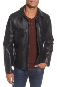 black leather jacket collared