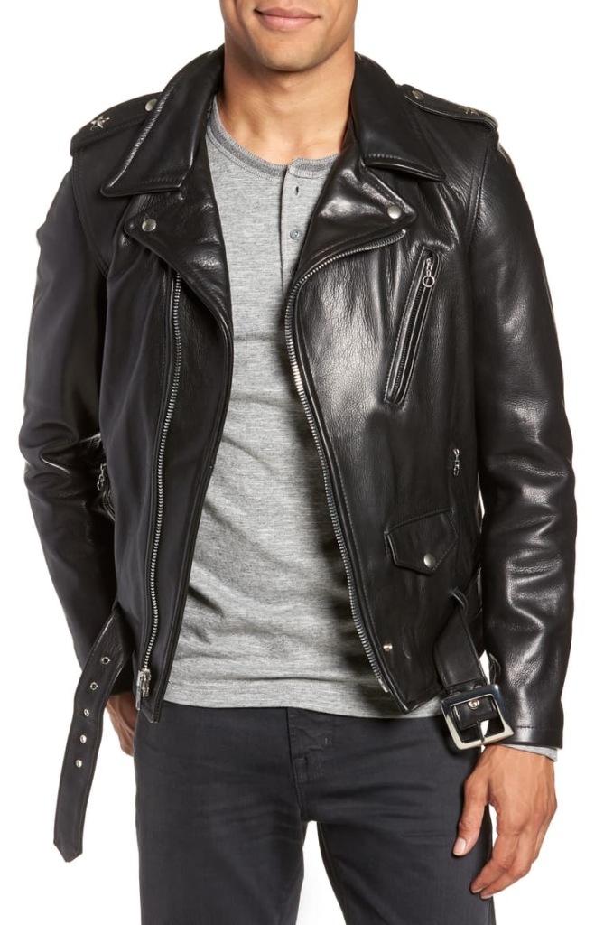 leather biker jacket mens schott